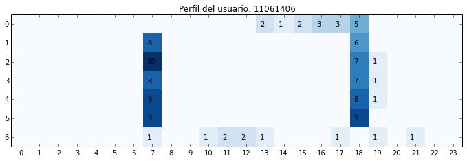 Perfil de uso semanal para un usuario